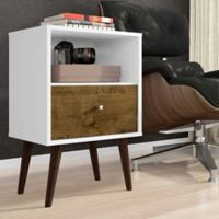 Manhattan Comfort Liberty Modern Nightstand 1.0 in White/Brown