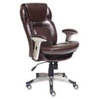 Serta® Wellness by Design™ Mid-Back Leather Office Chair in Brown Bonded Leather