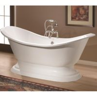 Cheviot Regency 72-Inch Cast Iron Bathtub with 7-Inch Drill and Pedestal Base in White