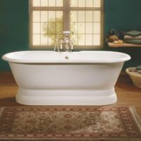 Cheviot Regal 61-Inch Roll Rim Cast Iron Bathtub with Pedestal Base in White