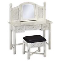Home Styles Marco Island Vanity Table and Bench Set in White
