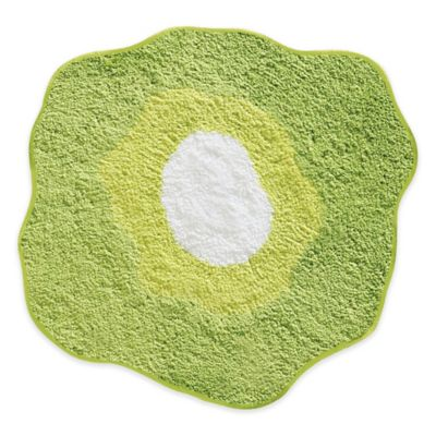 InterDesignR 26 Inch Round Poppy Floral Bath Rug In Green