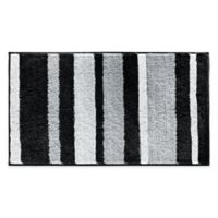 iDesign® 34-Inch x 21-Inch Microfiber Stripz Bath Rug in Black