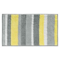 iDesign® 34-Inch x 21-Inch Microfiber Stripz Bath Rug in Yellow