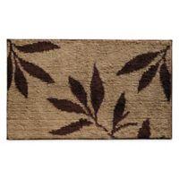 iDesign® 34-Inch x 21-Inch Microfiber Leaves Bath Rug in Brown