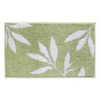 iDesign® 34-Inch x 21-Inch Microfiber Leaves Bath Rug in Green