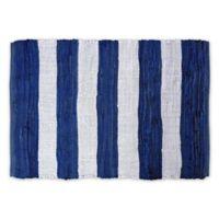 "Design Imports Rag Stripe 4"" x 6"" Area Rug in Blue"