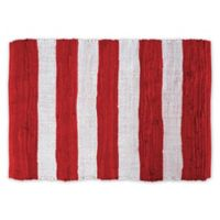 "Design Imports Rag Stripe 4"" x 6"" Area Rug in Red"