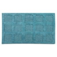 "Square Honeycomb 17"" x 24"" Bath Mat in Aquamarine"