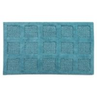 "Square Honeycomb 21"" x 34"" Bath Mat in Aquamarine"