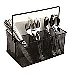 Mind Reader 4-Compartment Mesh Basket Desk Organizer with Handle in Black