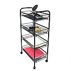 Mind Reader 4-Shelf Mobile Storage Cart in Black