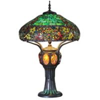 Hampstead Turtleback 4-Light Multicolor Table Lamp with Stained Glass Shade
