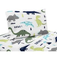 Sweet Jojo Designs Mod Dinosaur Twin Sheet Set in Turquoise/Navy