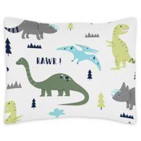 Sweet Jojo Designs Mod Dinosaur Reversible Standard Pillow Sham