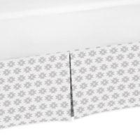 Sweet Jojo Designs Feather Tribal Geometric Print Queen Bed Skirt in Grey