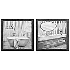 Zhejiang Wadou Sketch Bathroom 12-Inch Square Framed Wall Art in Black/White (Set of 2)