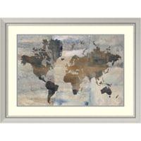 Amanti Art Stone World Map 40-Inch x 30-Inch Framed Wall Art