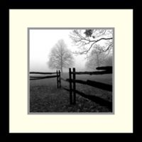 Amanti Art Fence in the Mist 13-Inch Square Framed Wall Art