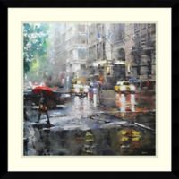 Amanti Manhattan Red Umbrella 21.38-Inch Square Framed Wall Art