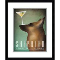 Amanti Art German Shepherd Martini 18-Inch x 20-Inch Framed Print Wall Art