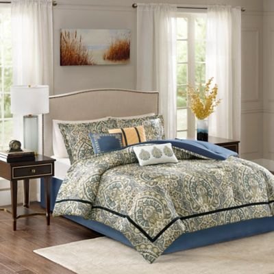 Madison Park Cameron Charmeuse 7 Piece Queen Comforter Set In Teal