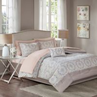 Madison Park Voss 9-Piece Full Comforter Set in Blush