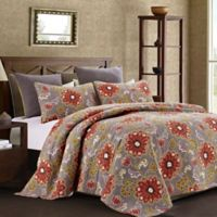 Aurora Reversible Full/Queen Quilt Set in Coral/Grey