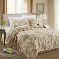 Contessa King Quilt Set in Pink/Green
