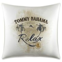 """Tommy Bahama® Palms Away """"Relax"""" Square Throw Pillow in Ivory"""