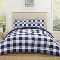 Truly Soft Buffalo Plaid 3-Piece Reversible Full/Queen Comforter Set in Navy