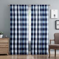 Truly Soft Buffalo Plaid 84-Inch Rod Pocket Window Curtain Panel Pair in Navy