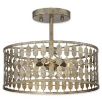 Filament Design 3-Light Semi-Flush Mount Light Fixture in Antique Gold