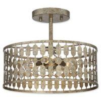 Filament Design 3-Light Semi-Flush Mount Light Fixture in Antique Gold
