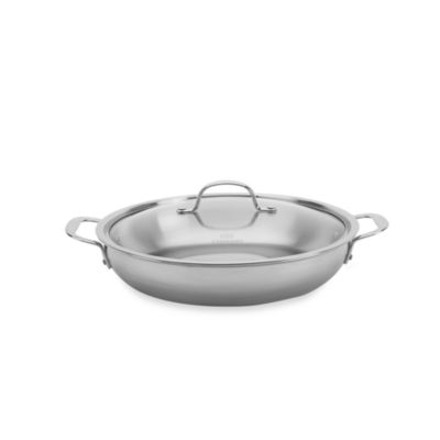 calphalon triply stainless steel 12inch everyday pan with lid
