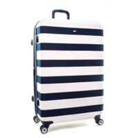Tommy Hilfiger Rugby Stripe 28-Inch Hardside Spinner Checked Luggage in White
