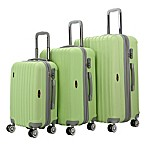 Brio Thick Rib 3-Piece Hardside Spinner Luggage Set in Green/Grey