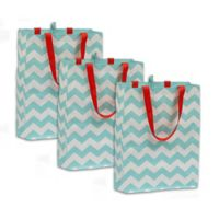 Chevron Plastic Tote Bags (Set of 3)