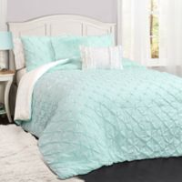Lush Décor Ravello Pintuck 3-Piece Reversible Full/Queen Comforter Set in Light Aqua