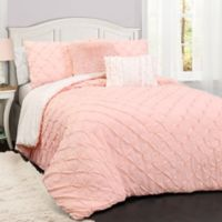 Lush Décor Ravello Pintuck 3-Piece Reversible Twin Comforter Set in Pink