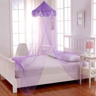 Casablanca Kids Pom Pom Bed Canopy in Purple. Buy Purple Bedroom Accessories from Bed Bath   Beyond