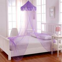 Casablanca Kids Pom Pom Bed Canopy in Purple