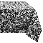 Design Imports Damask 60-Inch x 84-Inch Oblong Tablecloth in Black