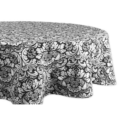 design imports damask 70inch round tablecloth in black