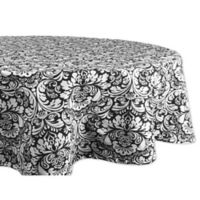 Design Imports Damask 70-Inch Round Tablecloth in Black