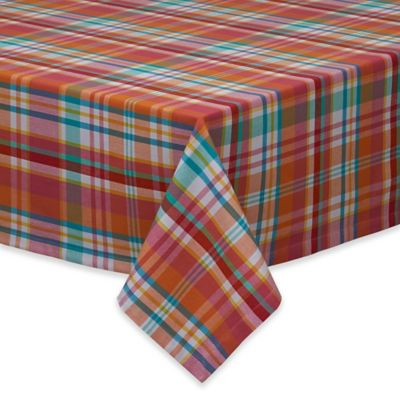 Design Imports Sherbert Plaid 60 Inch X 84 Inch Oblong Tablecloth