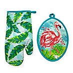 Summer Flamingo 2-Piece Oven Mitt and Pot Holder Set