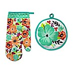 Summer Floral 2-Piece Oven Mitt and Pot Holder Set