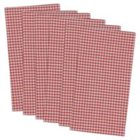 Design Imports Check Napkins in Coral (Set of 6)