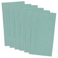 Design Imports Check Napkins in Aqua (Set of 6)